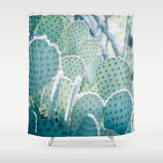 cactus shower curtain desert shower curtain by DreameryPhoto