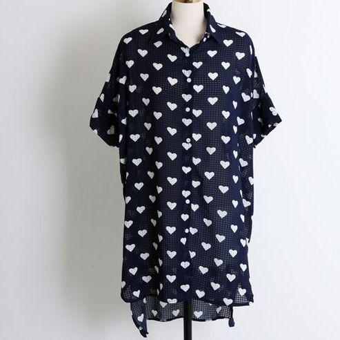 Amazon.co.jp: ハートドット不規則裾ロングシャツ レディースファッション (ネイビー): 服&ファッション小物通販