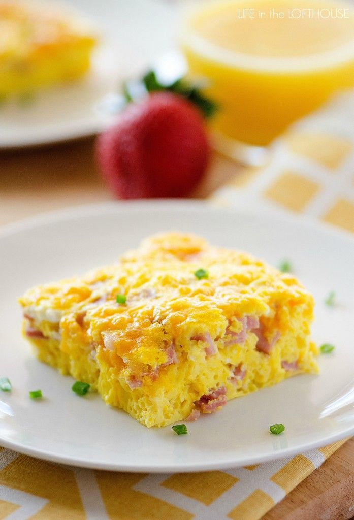 Baked Ham and Cheese Omelette | would add bacon and red and green peppers