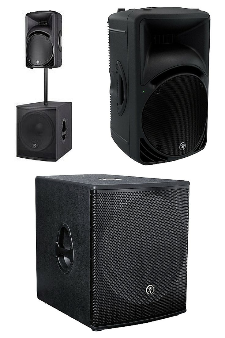 """These are my favorite mobile DJ speakers. The Mackie SRM450v3 1,000-Watt High-Definition Portable Powered Loudspeaker on top & a Mackie SRM1801 18"""" 1000W Powered Subwoofer providing the big bottom end are perfect for a working DJ's portable speakers & outdoor speakers to DJ weddings, etc. because they are sturdy, durable & easy to get around. I can fit them in a Honda Civic! Get these awesome powered PA speakers at http://www.funkish.audio/dj-equipment-speakers/"""