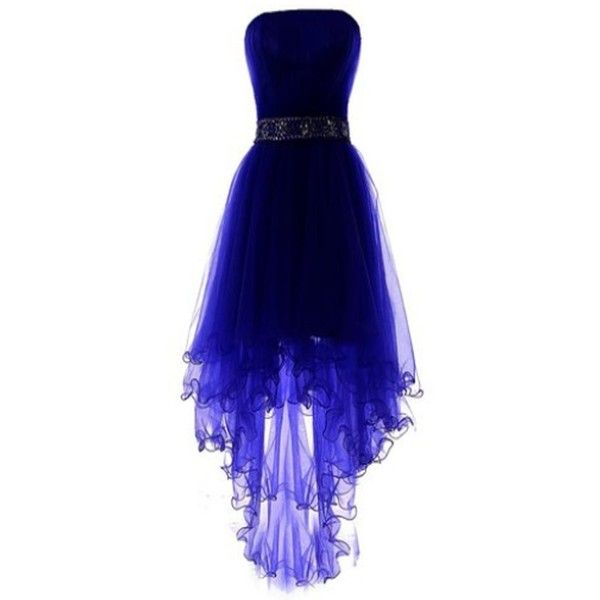 LM Women's High-low Homecoming Dress Short Evening Gown LM013 ($89) ❤ liked on Polyvore featuring dresses, gowns, short evening dresses, high low gown, homecoming gowns, blue ball gown and short homecoming dresses