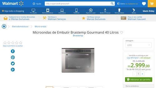[Wal-Mart] Microondas de Embutir Brastemp Gourmand 40 Litros 1965464 por R$ 2.998,98