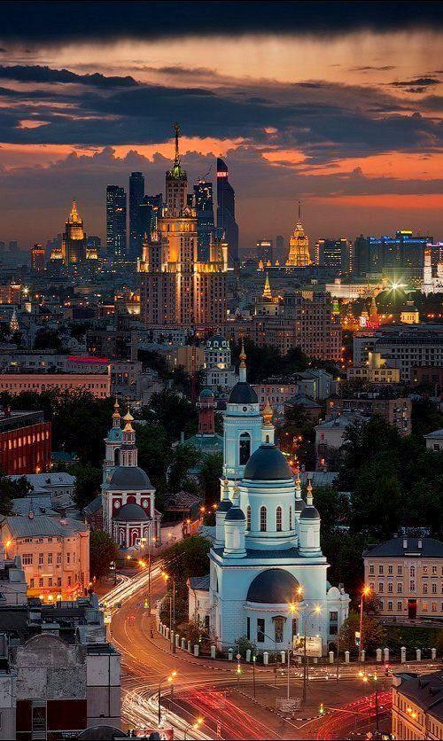 Cielo rojo en Moscú.