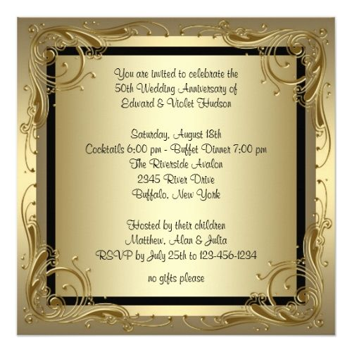 129 best 50th wedding anniversary invitations images on pinterest 50th wedding anniversary party elegant gold 50th wedding anniversary party card stopboris Images