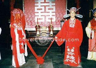 Bride and bridegroom on marriage ceremony Ancient Chinese Marriage Ritual