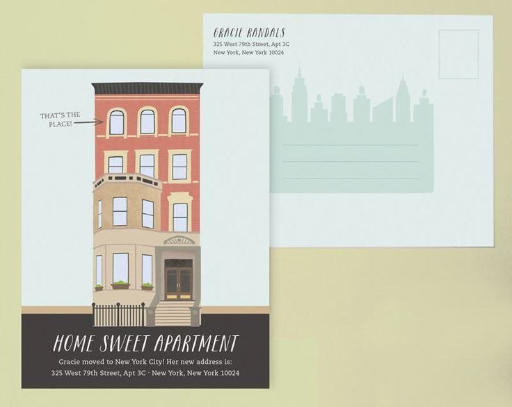 Apartment Change of Address Postcard, Moving Announcement, New Home Announcement, I moved Cards, Moving Cards, New Apartment Card, City by LeveretPaperie on Etsy https://www.etsy.com/listing/152829757/apartment-change-of-address-postcard