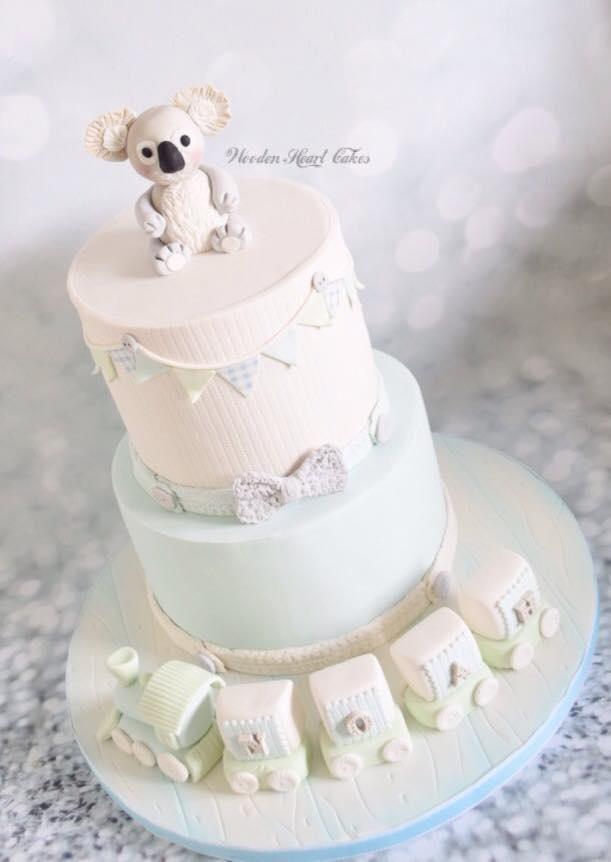 Koala Bear Christening Cake by Wooden Heart Cakes