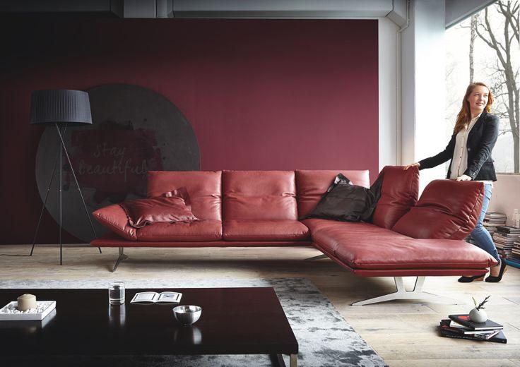 Collectie Prima-Lux en Idee+: Prachtige salon in rood leder van Duitse kwaliteit