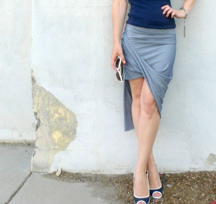 Knock off Anthropologie Oblique Pencil Skirt tutorial (a two seam, 30 minute project!) ~Melisa (Maybe my first sewing pin test?)