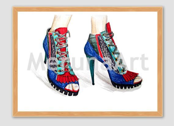 Red Shoes Fashion Sketch Download Printable Art by MerunaArt #fashion #sketch #shoe #drawing #sandals # high #heels