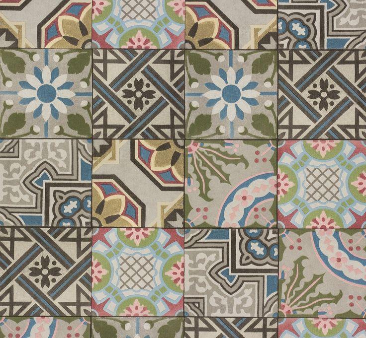 Wallpaper Rasch Crispy Paper tiles colourful 526301