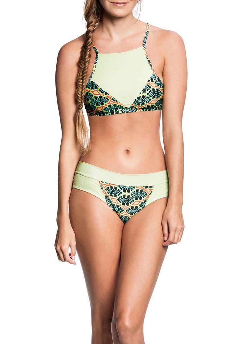 Demi bottom printed bikini bottom with wide sides.   Neon Bikini Bottom by Estivo. Clothing - Swimwear - Bottoms - Brazilian Cut Clothing - Swimwear - Two-Piece Los Angeles, California