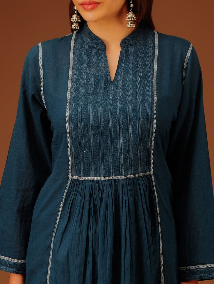 Buy Indigo Embroidered Yoke Panelled Flared Cotton Kurta Women Kurtas Online at Jaypore.com
