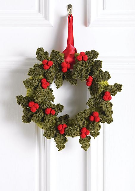 Christmas Holly Wreath this is a knit pattern, but  can be done in crochet with the pinned holly design on this board
