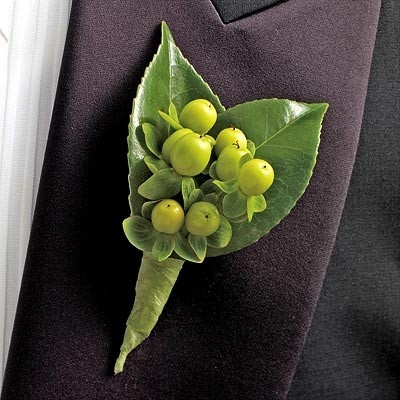 Green coffee bean boutonnière