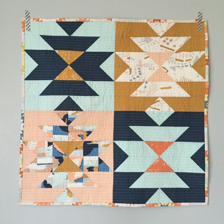 Mini squash blossom quilt with April Rhodes fabric