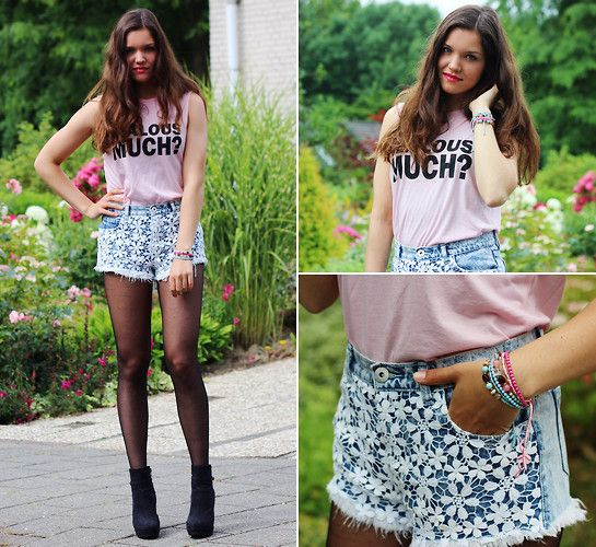 H&M Top, Primark Shorts, H&M Shoes