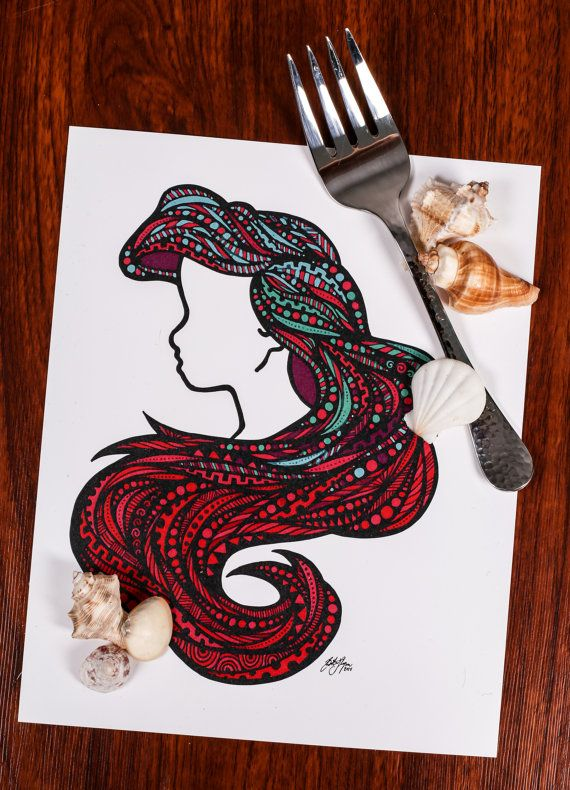 Zentangle Sea Hair por ZenspireDesigns en Etsy