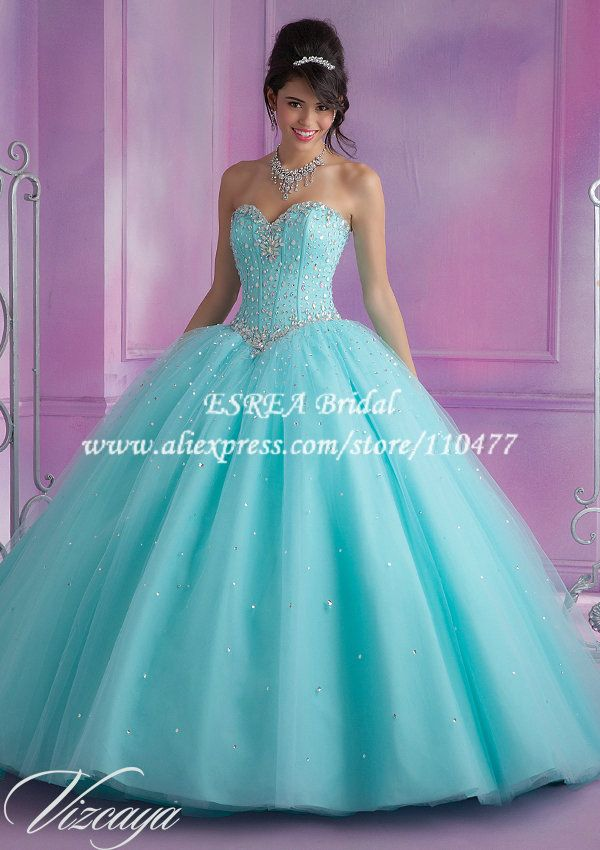 Cheap gown dress, Buy Quality gowns white directly from China gown pajamas Suppliers:  ESREA, JUST CREATE UNIQUE DRESS FOR YOU!          Hot Sale Beaded Corset  Blue Turquoise Quinceanera Dresses 2015 Ball