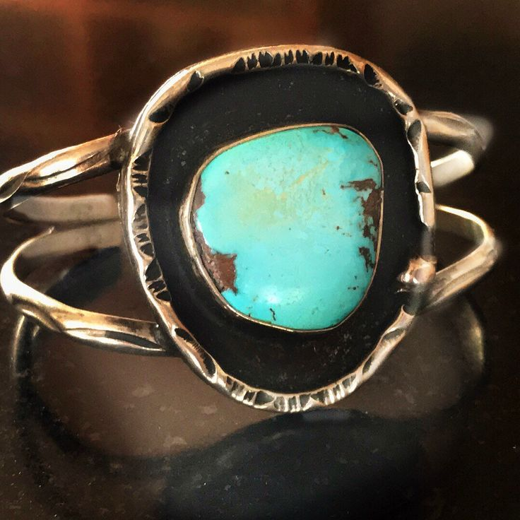 Vintage Navajo Stella Smiley Sterling Silver and Turquoise Cuff Bracelet...  sugardrawers.etsy.com