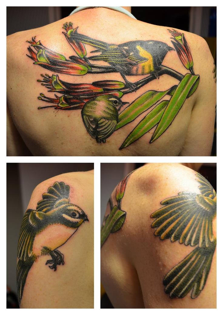 Stitchbird, Rifleman, Fantail, Flax.  NZ native bird tattoo.  I'm in love.  (by Gill Tattoo, Wellington, New Zealand)