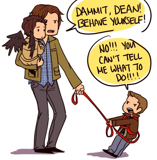 Babysitter Sam with Little Castiel and Dean.... Click through to see cute ficlet to go with the picture.