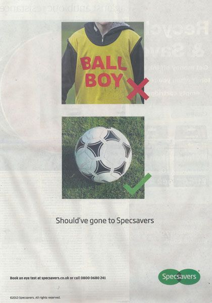 Genius Specsavers Ball Boy Ad campaign #hazard