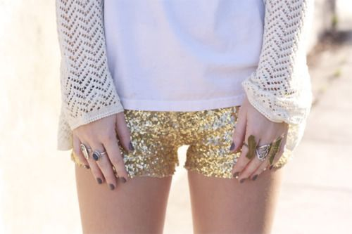 Sequin shorts -- @Shoshanna Rose, I think our volleyball team should use these instead of spandex. Yeah.