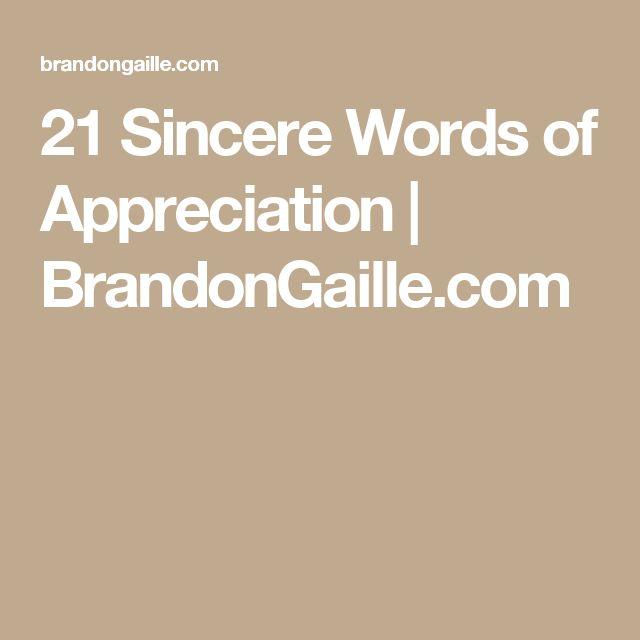 21 Sincere Words of Appreciation | BrandonGaille.com