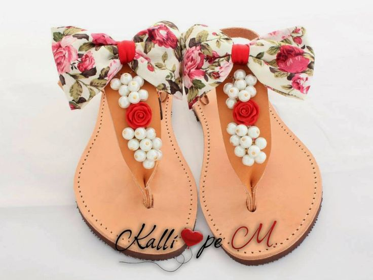 Handmade leather sandals decorated with pearls, red rose and a retro floral bow. #summer sandals #handmade sandals #retro #floral #bow #cute sandals