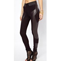 PU Leather Splicing Stretchy Leggings For Women
