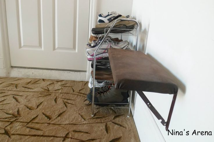 Fold Down seat bench. For tight spaced hallways. Of course, mine would be cuter but the idea is good.