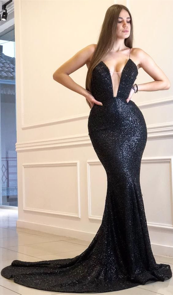 64d23b5fc8c Mermaid Spaghetti Straps Backless Sweep Train Black Sequined Prom ...