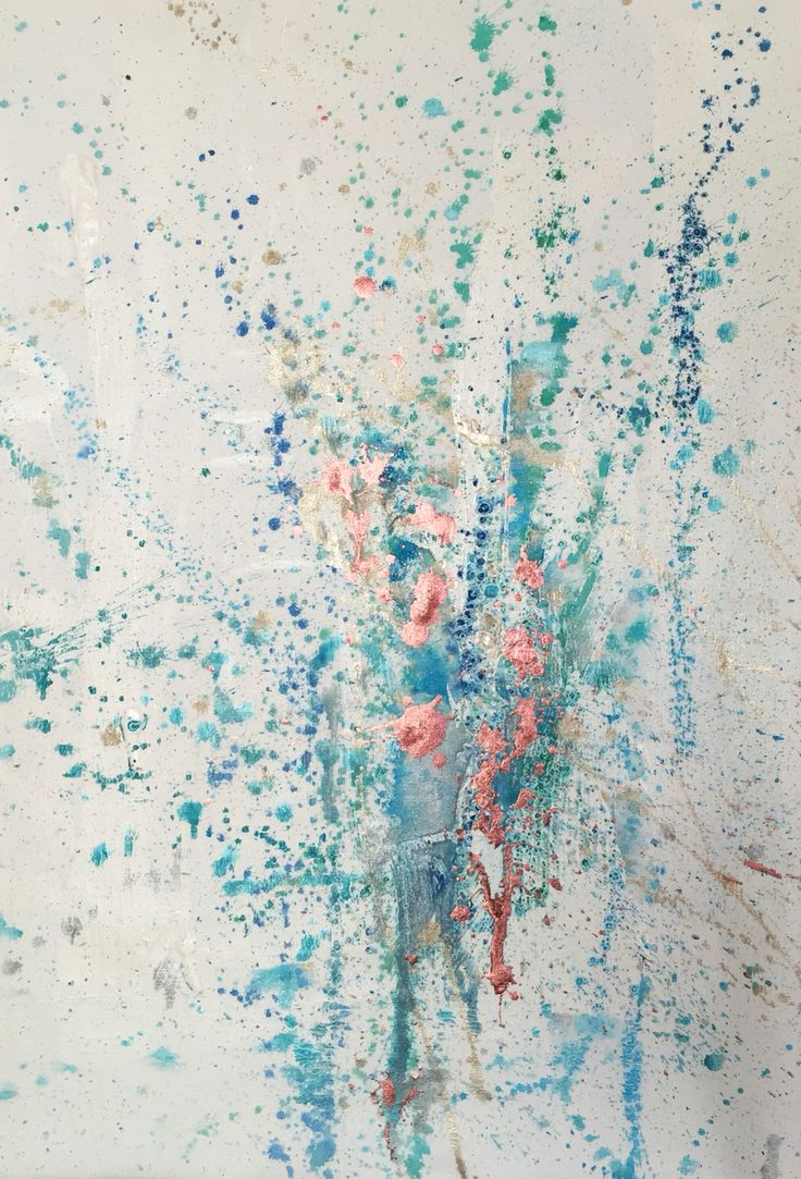 Fun turquoise - Painting by Sneta Szczepanska Art, Watercolour, Acrylic, Oil on canvas 40x60cm. Turquoise with rose gold detail