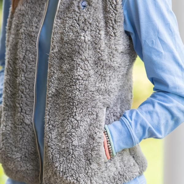 Southern Shirt Co. Heather Zip Sherpa Vest in Moon Mist