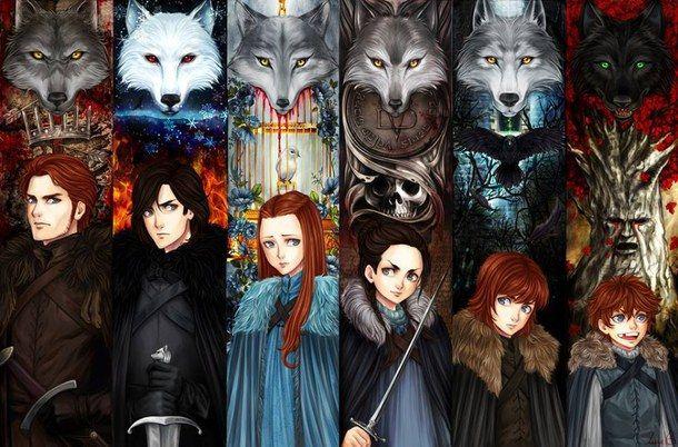 game of thrones, got, house stark, jon snow, robb stark, sansa stark, juego de tronos, arya stark. brandon stark