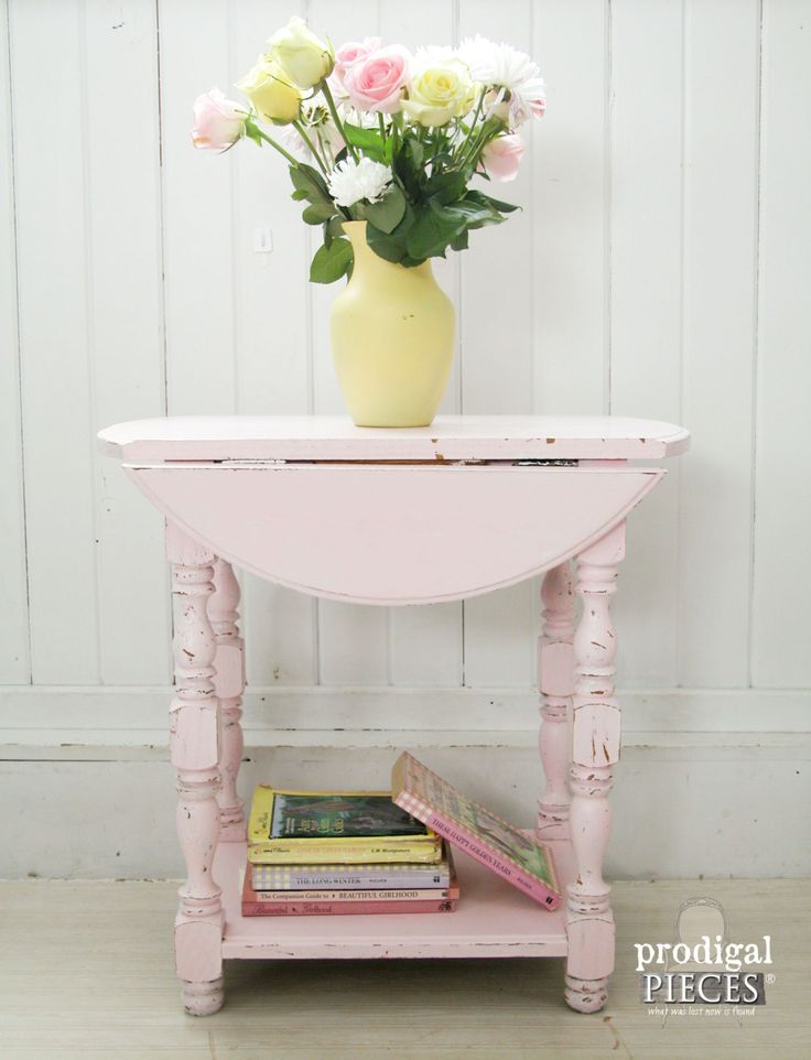 Vintage Shabby Chic Bubble Gum Pink Drop Leaf Side End Table or Nightstand~ Cottage Chic Entry or Bedroom by Prodigal Pieces on Etsy www.prodigalpieces.com
