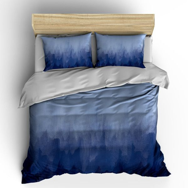 Navy Blue Watercolor Bedding Duvet Cover or Comforter Your Choice of... ($169) ❤ liked on Polyvore featuring home, bed & bath, bedding, comforters, grey, home & living, king bedding, king size pillow shams, king shams and navy euro sham