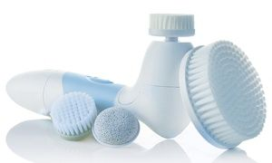 The cleansing brush uses invigorating rotary action and bristles to clean out pores, exfoliate the skin, and promote collagen production