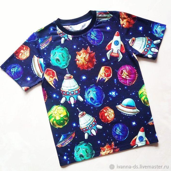 Купить Футболка Космос - комбинированный, тёмно-синий, планеты, космос, футболка, футболка детская