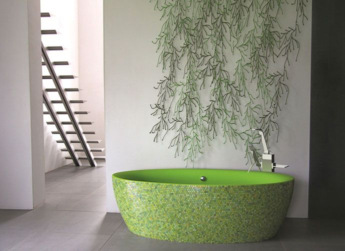 Photo Of Aston Matthews u Dip bath finished in Lime green mosaic Other colours available astonmatthews My Favorite ColorModern BathroomsHome