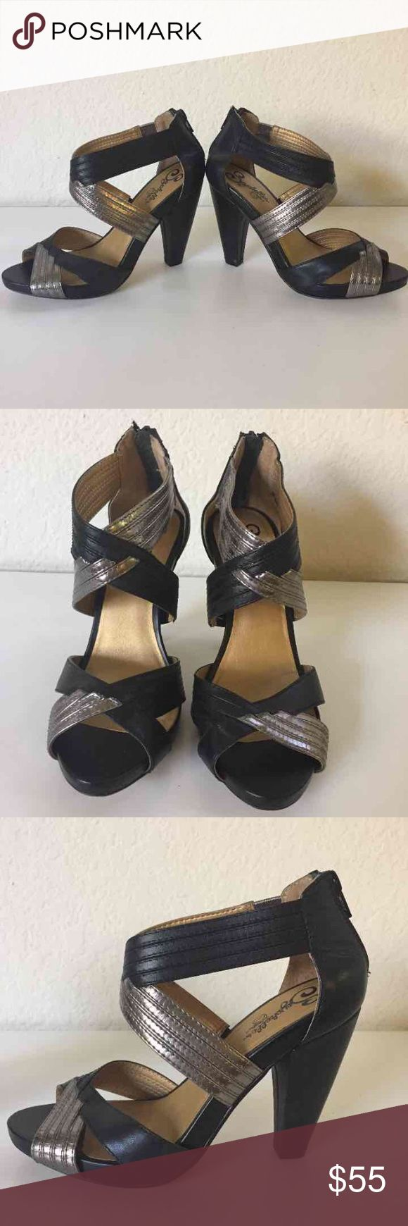 Seychelles Black and Bronze Strap heels Black wedge heels with black and Bronze straps.  Size 7, about 3 1/2 in tall.   Gently worn. No scratches to the leather. Very minor marks on the heel part. They're not scratches bc it didn't rip the leather. When worn on, it's not noticeable. It's in great condition.  Forgot the exact retail price but Seychelles runs around $99+  It does NOT come with the original box.  I threw it away while back.   **All my items will be wrapped with tissue paper…