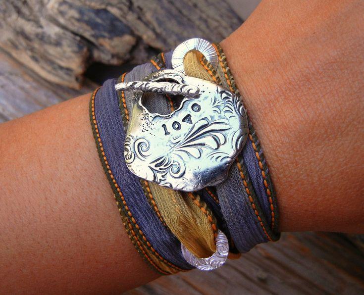 LOVE, STERLING SILVER Silk Wrap Bracelet, Sterling Silver Handmade Jewelry by HappyGoLicky. $49.95, via Etsy.