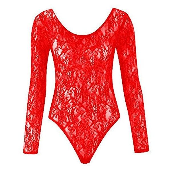 Fashion 4 Less Womens Ladies Plus Size Mesh Insert Lace Leotard... ($5.79) ❤ liked on Polyvore featuring tops, red bodysuit, plus size body suit, lace body suit, plus size lace bodysuit and red lace top
