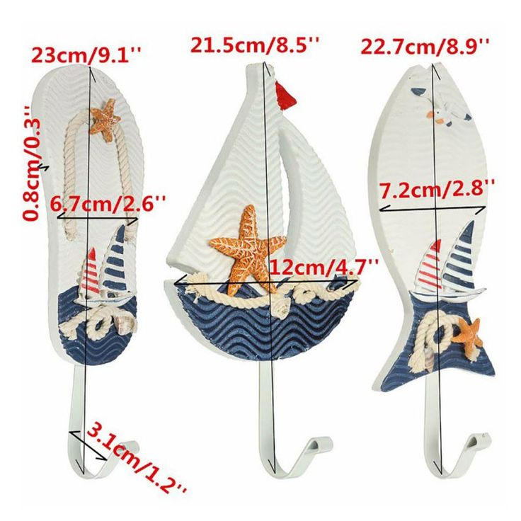 Anchors Fish Slipper Boat Shaped Wall Hooks Living Room Bar Hanging Decoration Mediterranean Style LKT
