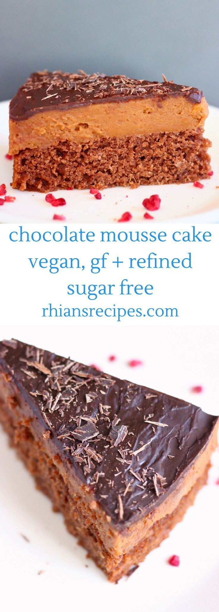 This Gluten-Free Vegan Chocolate Mousse Cake is the best secretly healthy yet seriously indulgent dessert. It's super chocolatey, rich and creamy and perfectly sweet! Refined sugar free.