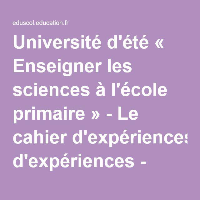 Université d'été « Enseigner les sciences à l'école primaire » - Le cahier d'expériences - Éduscol
