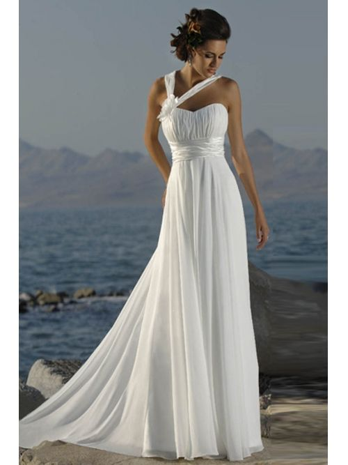Vestido de novia sencillo para playa o jardín (frente)