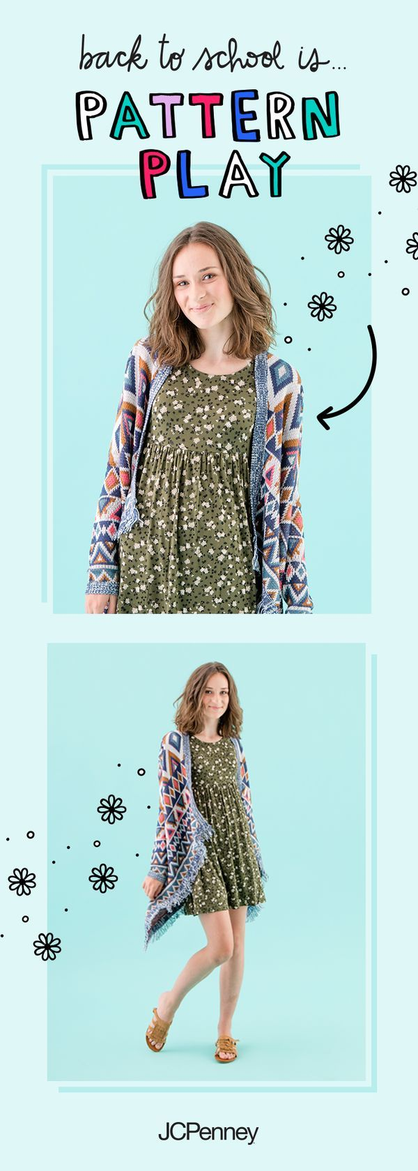 All about that mix + match? Check out this back to school look from  JCPenney. Pair a floral dress with a geometric print sweater and finish off  the look ...