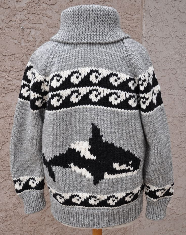 We have a wonderful selection of Cowichan and Cowichan-inspired patterns, along with the yarn and needles needed to create these beautiful sweaters - visit our online store ... www.artofyarn.com... http://www.artofyarn.com/blog/wp-content/uploads/2013/11/Orca-Cowichan-Style-Sweater-21.jpg